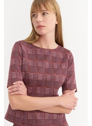 BGN Bordo - Ekose Desen Örme Bluz Bordo